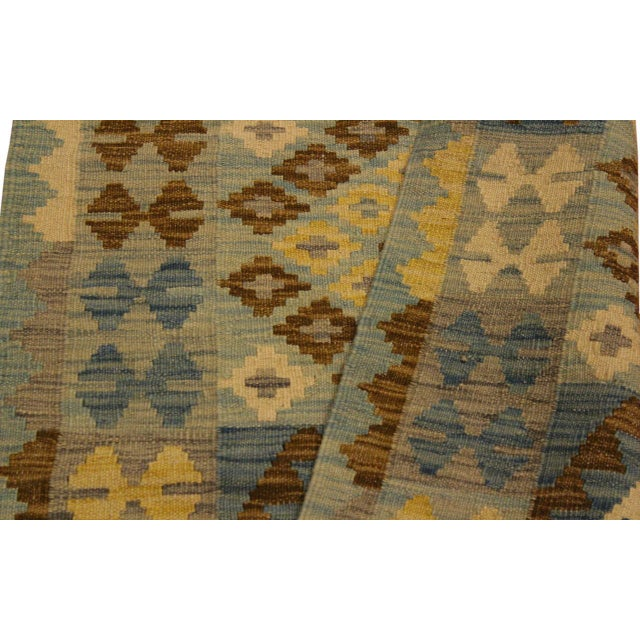 Textile Contemporary Tribal Roseann Blue/Gray Hand-Woven Kilim Wool Rug -2'8 X 4'1 For Sale - Image 7 of 8