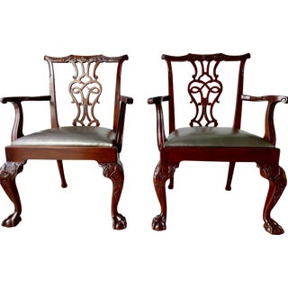 Baker Chippendale Arm Chairs- A Pair For Sale