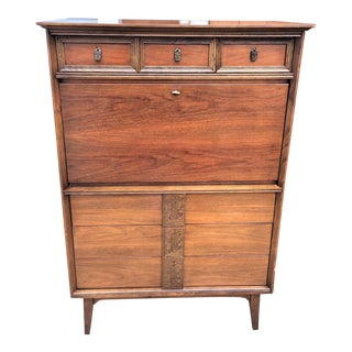 1960s Scandinavian Modern Bassett Mayan Secretary Desk For Sale