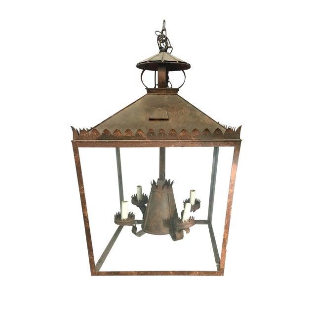 Vintage Tole Faux Bronze Lantern For Sale