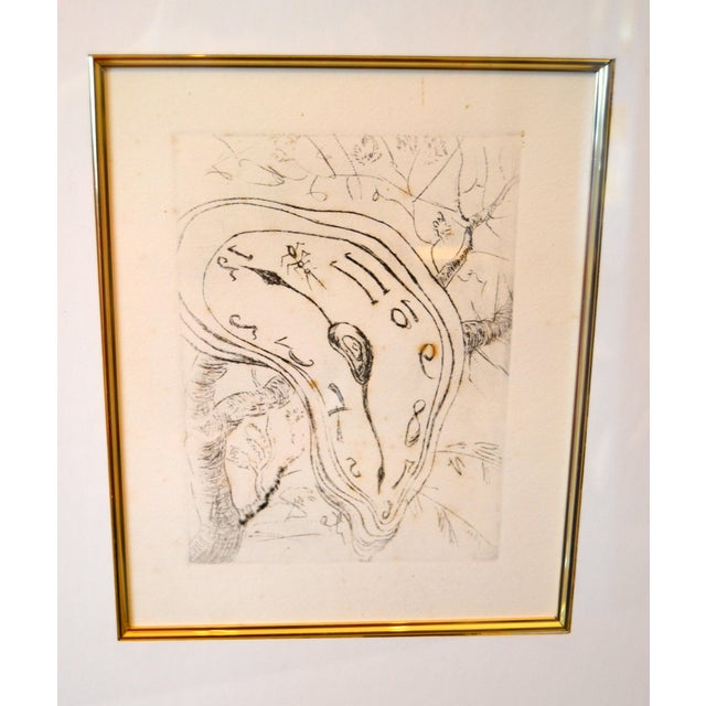 "Mid-Century Modern Gold Framed Salvador Dali Inspired ""Melting Clock"" Etching Print For Sale - Image 3 of 13"