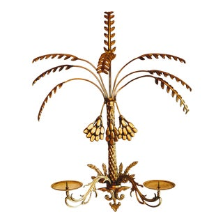 Vintage Brass Sconce Palm Candle Frond