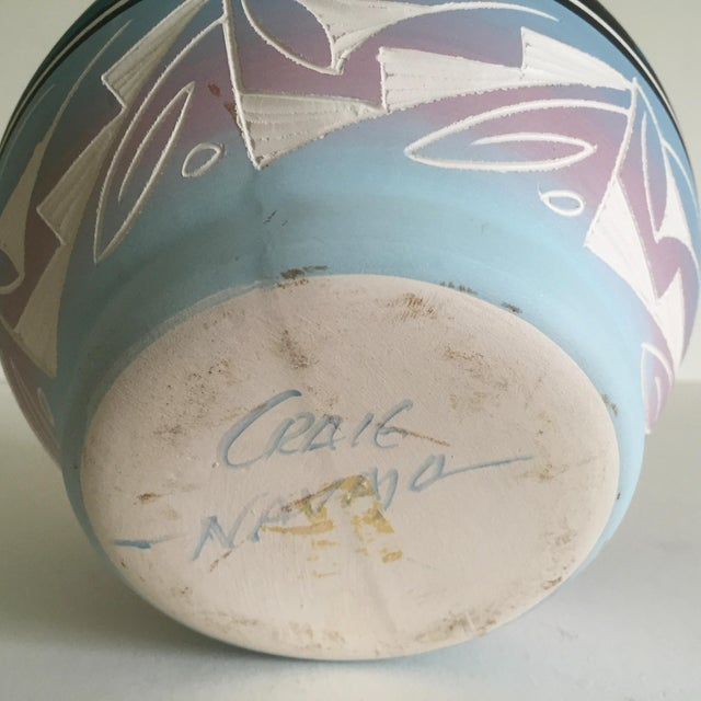 Vintage Signed Navajo Native American Pink Mesa Sunset Hand Painted Pottery Vase For Sale - Image 11 of 11
