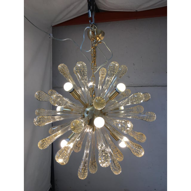 Early 21st Century Chandelier Murano Glass Sputnik Metal Frame Gold Brushed For Sale - Image 5 of 8