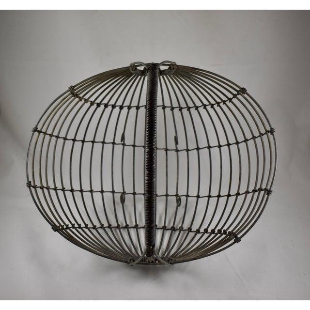 Gray 1970s Karl Howard Galvanized Steel Handmade Art Basket, Signed For Sale - Image 8 of 13