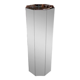 1970's Mid Century Modern Octagonal Bevel Mirrored Pedestal With Floating Base For Sale