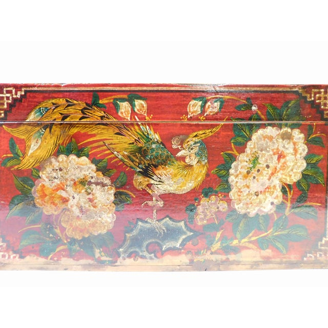 Vintage Red Flower Rectangular Wooden Box - Image 2 of 6