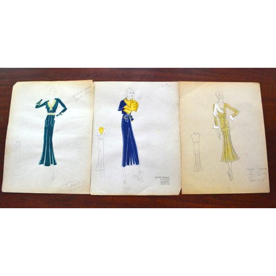 Original Edith Sparag Sketch New York Fashion 1930 For Sale - Image 4 of 4