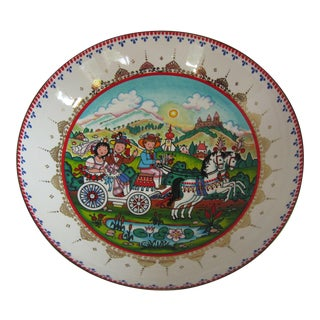 Vintage Arta Enamel Bowl With Scene For Sale