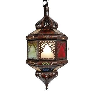Moroccan Multi Color Glass Lantern For Sale