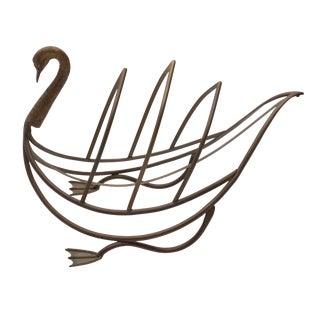 1960s Maison Jansen Style Brass Swan Magazine Rack For Sale