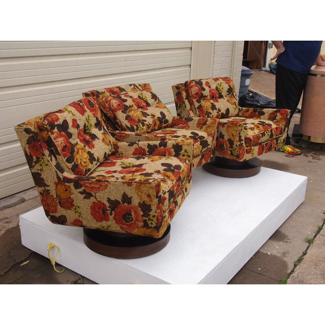 Floral Print Modern Lounge Chairs - Set of 3 - Image 3 of 4