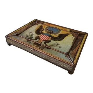 Patriotic Themed Art Glass Box For Sale