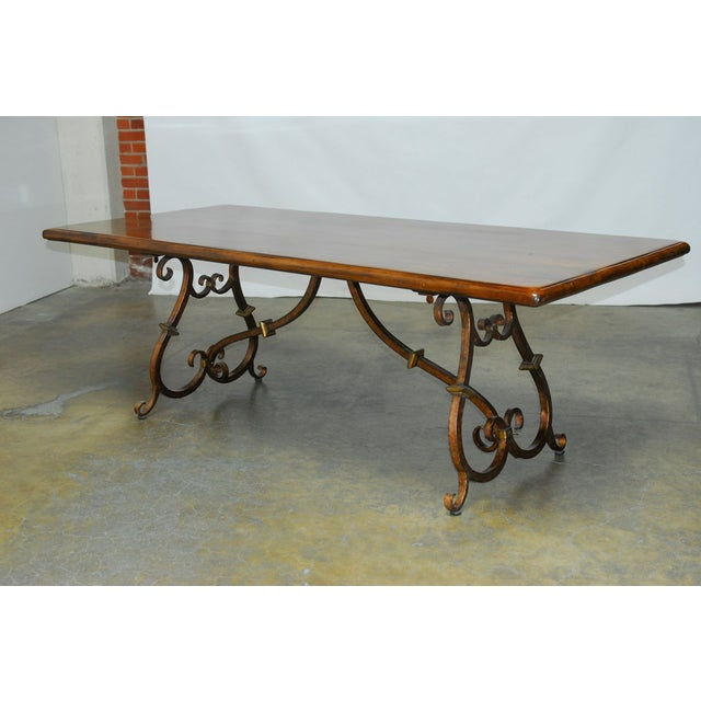 Spanish Colonial Trestle Table With Wrought Iron - Image 3 of 10
