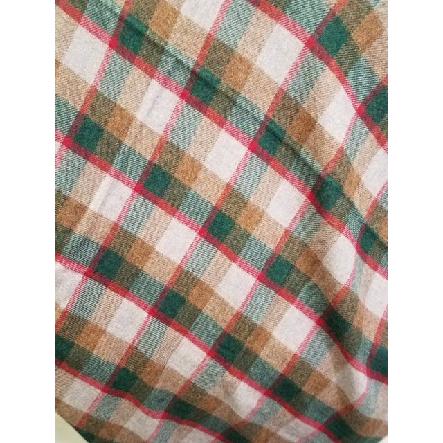Wool Throw Green, Red, Brown in a Check Design - Made in England For Sale In Dallas - Image 6 of 11