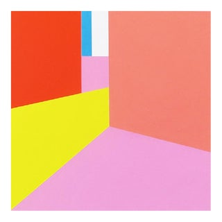 """Martha Hughes """"Scene 72"""" Geometric Interior Space Acrylic Painting in Pink, Yellow, Red For Sale"""