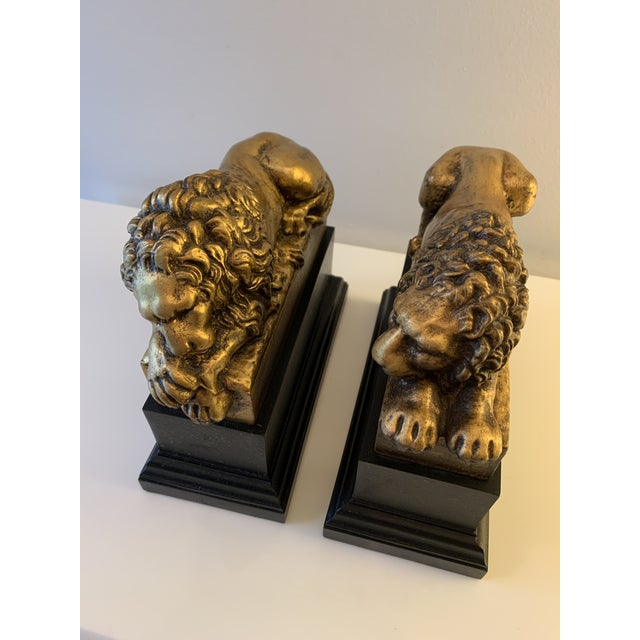 """Traditional Vintage Gilt """"Borghese"""" Lion Bookends - a Pair For Sale - Image 3 of 11"""