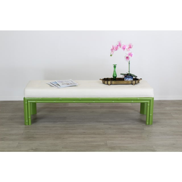 Mid-Century Apple Green Faux Bamboo Bench With Linen Cushion, Green Bamboo Bench, Cream Linen Bench For Sale - Image 4 of 8