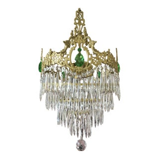 Antique Art Deco Crystal Wedding Cake Waterfall Chandelier For Sale