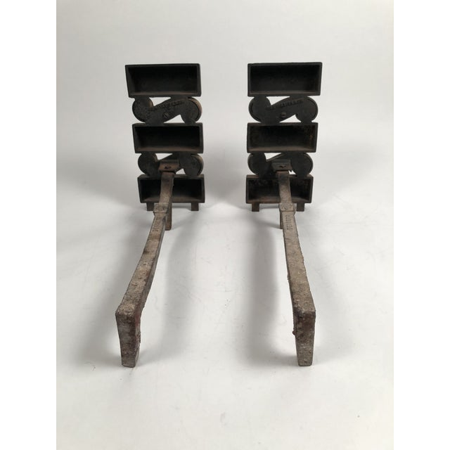 1940s Donald Deskey Andirons With Matching Firetool Set - Set of 6 For Sale - Image 12 of 13