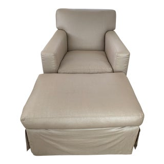 Gray Arm Chair & Ottoman in the Style of Jean Michel Frank For Sale