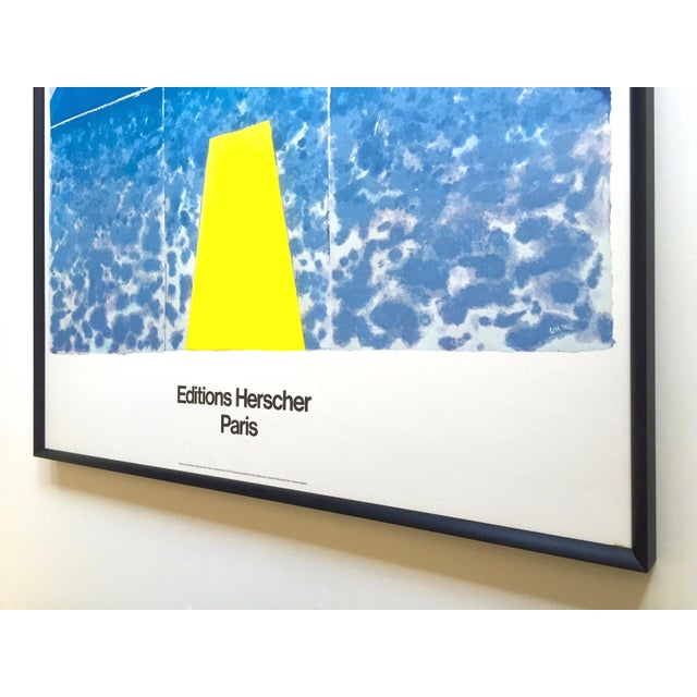 """David Hockney Rare Vintage 1978 Iconic Fine Art Lithograph Print Framed Pop Art Poster """" Day Pool With Three Blues """" For Sale - Image 12 of 13"""
