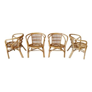 1960s Barrel Back Bamboo Chairs - Set of 4 For Sale