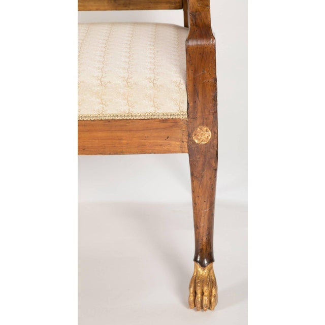 Italian Neoclassical Walnut Bench For Sale In New York - Image 6 of 11
