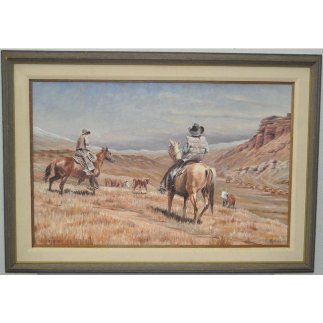 1980s Burt Dinius Oil Painting - Fall Round Up C.1982 For Sale - Image 5 of 5