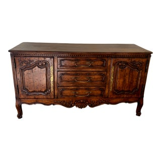 French Provincial Louis XV Style Carved Sideboard For Sale