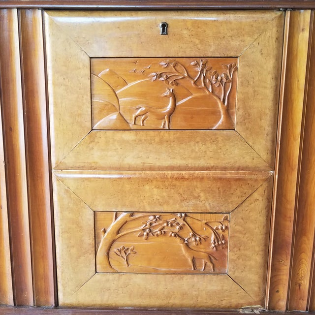 Mid-Century Modern 9' Custom Made Italian Credenza With Hand Carved Reliefs For Sale - Image 3 of 13
