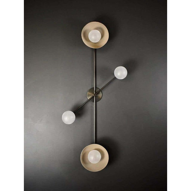Division Wall Sconce or Flushmount in Oil-Rubbed Bronze, Mesh & Blown Glass For Sale In New York - Image 6 of 8