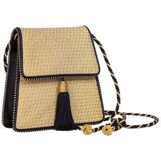 Vintage Bottega Veneta Gold Black Silk Tassel Evening Bag For Sale