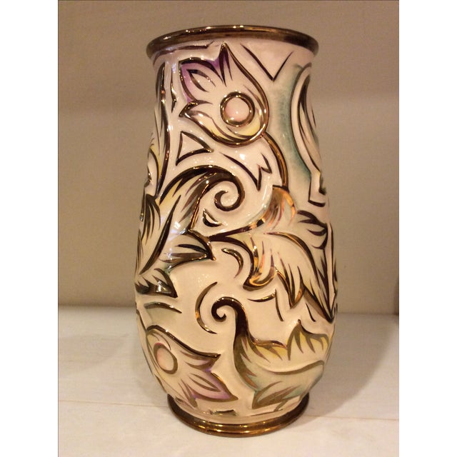 "England 1930's Art Deco Wade Heath ""Gothic"" vase with raised pastel tinted floral design and gilding on pale cream ground...."
