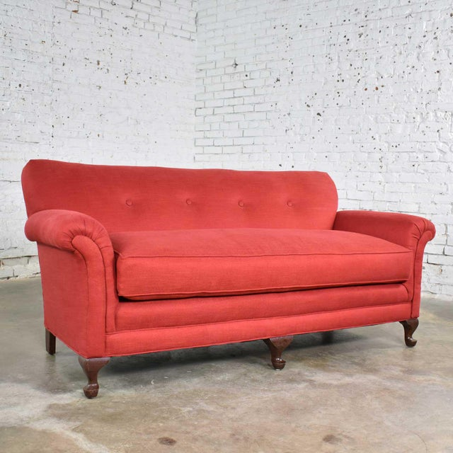 Red Smaller Size Lawson Sofa With Rolled Arms Down Bench Seat and Tight Back For Sale - Image 13 of 13