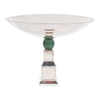 Mid-Century Modernist Art Deco Style Silver-Plated Bronze Tazza by Gucci