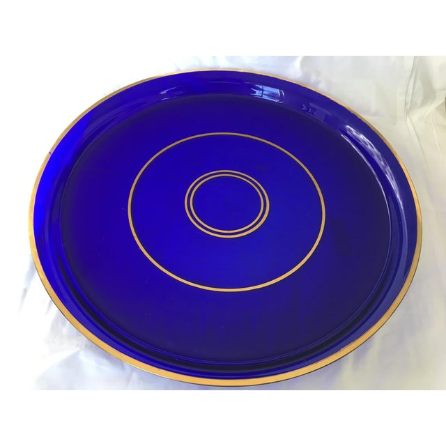 Crystal Antique Crystal Cobalt Blue Gallery Tray For Sale - Image 7 of 7