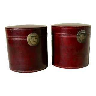 Early 20th Century Antique Chinese Leather Storage Canisters - A Pair For Sale
