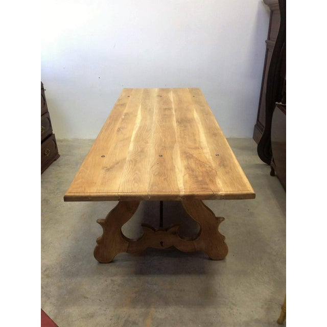 Spanish 19th Century Spanish Farm Trestle Lyre Leg Dining Room Table With Forged Iron For Sale - Image 3 of 11