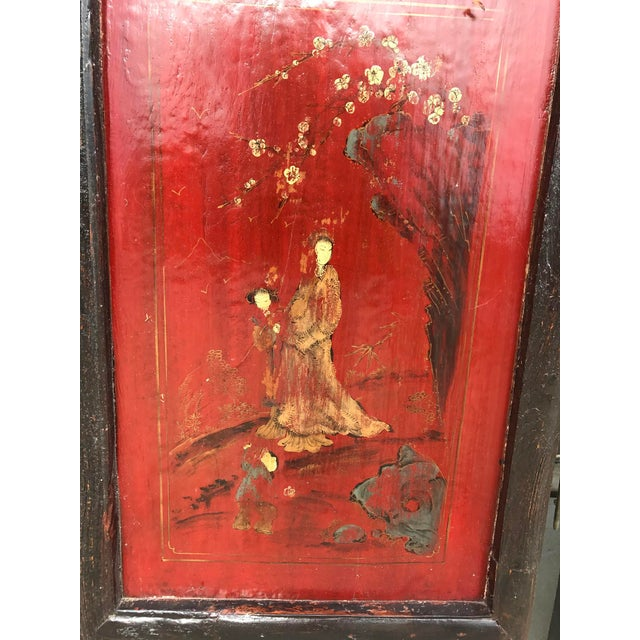 Qing Dynasty Chinese Lacquer Painted Folding Exterior Doors - Set of 4 For Sale - Image 5 of 11
