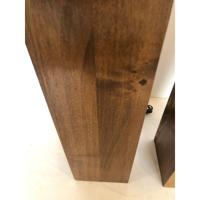 Brown Walnut Block Form Mid-Century Modern Table Lamps -A Pair For Sale - Image 8 of 11