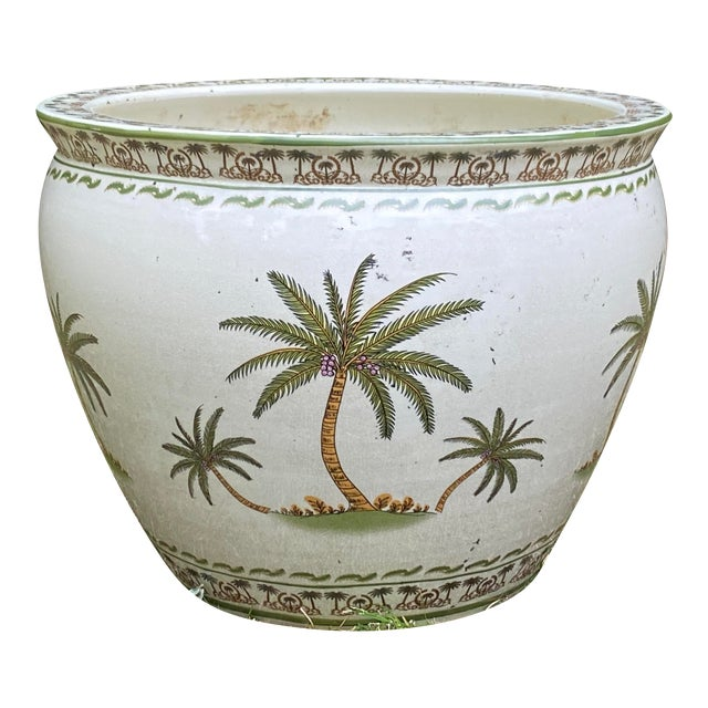 Monumental Palmy Tree Ceramic Planter Bowl For Sale