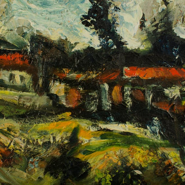 Sunday Stroll Home, scenic view from afar looking back at village with woman walking - Oil on Board , signed lower left -...
