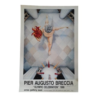 """Pier Augusto Breccia 1988 """"Olympic Celebration"""" Signed Exhibition Lithographic Poster For Sale"""