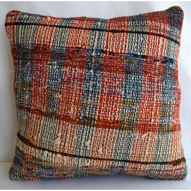 """16"""" Pillow Cover Vintage Handmade Cotton Ragrug Kilim Sham Throw For Sale In Raleigh - Image 6 of 6"""