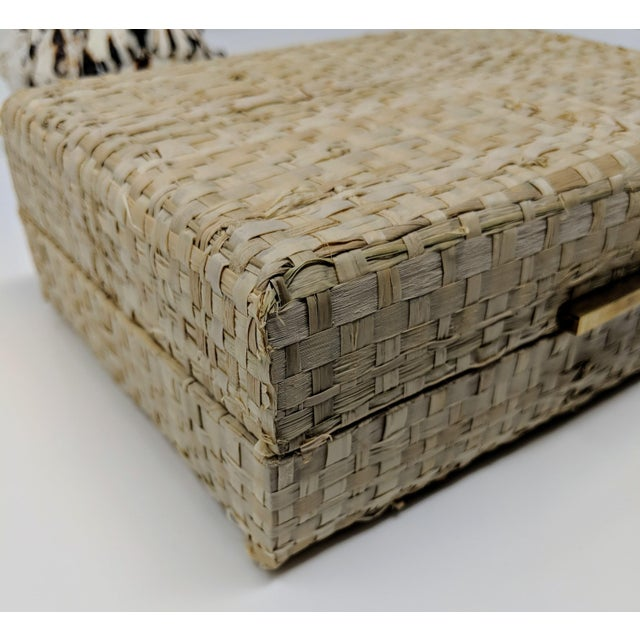 Brass Ralph Lauren Inspired Woven Straw Keepsake Box With Brass Hardware For Sale - Image 7 of 11