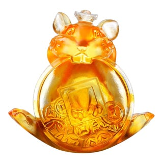 """Liuli Crystal Art Crystal Limited Edition Mouse """"Unshakable"""" Zodiac Sculpture For Sale"""