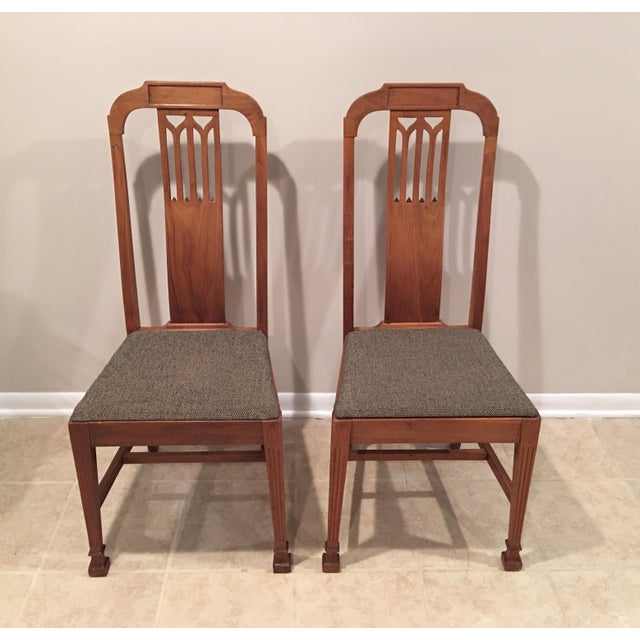 Arts & Crafts Mission Arts & Crafts Craftsman Wood Chairs With Canvas Seats - Set of 2 For Sale - Image 3 of 11