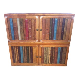 1960s Traditional Italian Leather Bound Bookcase For Sale