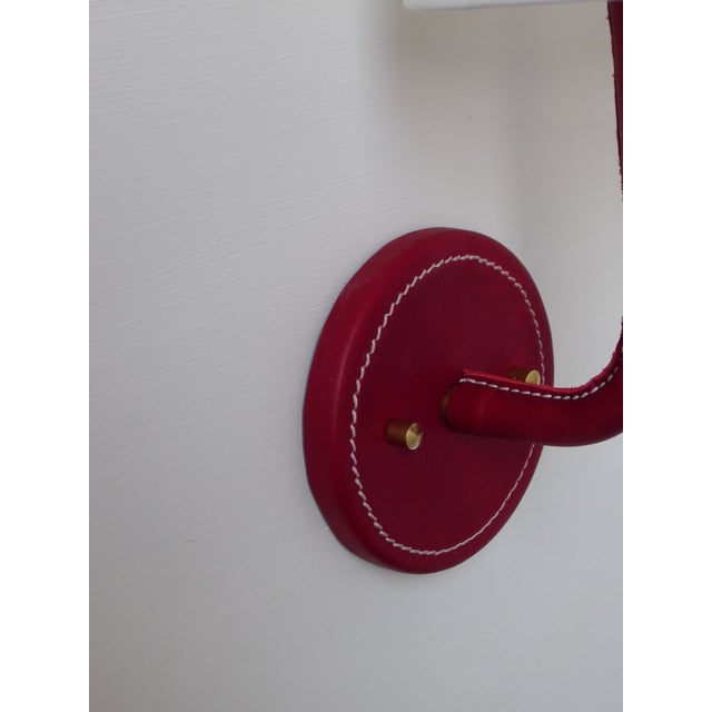 Modern Paul Marra Top-Stitched Leather Wrapped Sconce in Red For Sale - Image 3 of 7